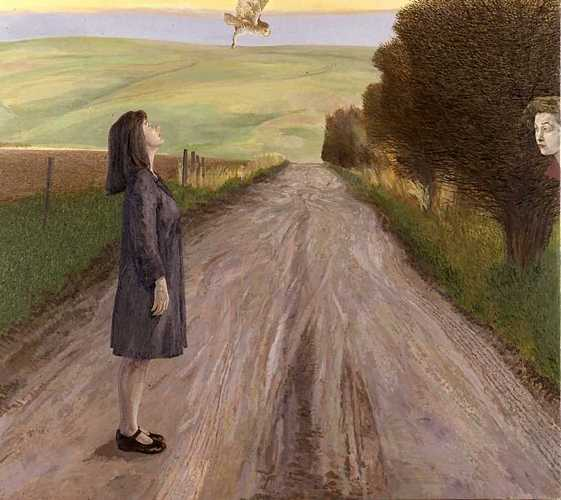 DAVID INSHAW Figure in a Wiltshire Landscape Surprised by an Owl, 1986