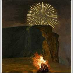 DAVID INSHAW Firework and Bonfire, West Bay, 2000